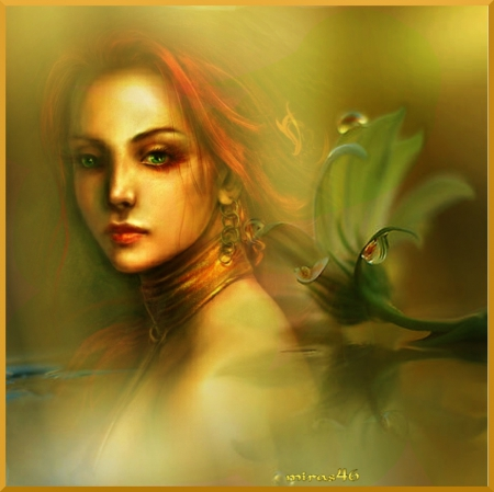 fantasy woman - flower, fantasy, digital art, red hear