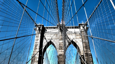 majestic tower of the brooklyn bridge - bridge, flag, tower, wires