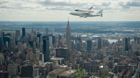 shuttle riding piggyback over nyc - city, plane, sky, shuttle