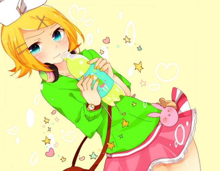~kawaii Rin~ - vocaloid, kagamine rin, cute girl, cute dress, ribbon, pretty girl, blonde hair, hair band, short hair, lemon juice, blue eyes