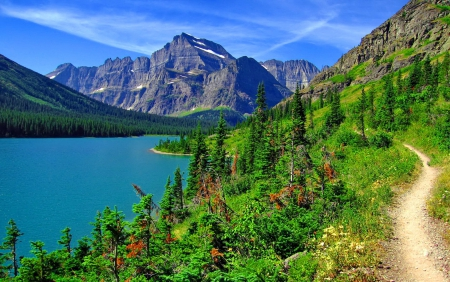 Glacier National Park Lakes Nature Background Wallpapers