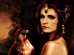 Beauty with hawk