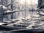 boats in winter on a british river