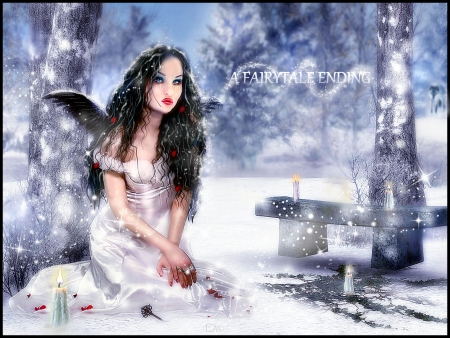 A FAIRYTALE ENDING - sno, beautiful wallpaper, winter 2014, fairytale, gothic, wolf in woods, pure, winterwonderland, trees, digital drawing wallpaper, magical scenes, wingsmagical, girl in white dress, snow, snowingincanada, wolf, white, holiday wallpaper, landscape, canada, model walppaer, red, snowscene, dress, fairytae wallpaper, fantasy wallpaper, gothic girl, pale and interesting, winter wallpaper, fairytale girl, gothic wallpaper, blue, outside, white woods, angel, sparkles, candles, dressed in white, dark, snowwolf, angel wallappwr, nature, ivy, pretty wallpaper