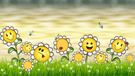 Happy Daisy Faces - grass, spring, smiles, happy, bees, daisies, faces, Easter, ladybug, summer, flowers
