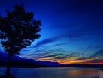lake under blue twilight hdr
