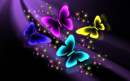 Neon Butterflies - But... Neon Butterfly Wallpaper