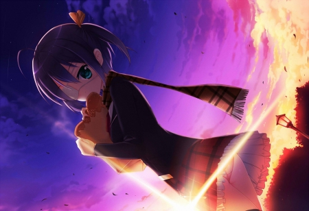 Rikka Takanashi - pretty, beautiful, sunset, clouds, unifrom, sweet, nice, fantasy, anime, flowers, beauty, anime girl, chuunibyou demo koi ga shitai, light, unform, female, ribbon, purple hair, skirt, sky, chuunibyou demo koi ga shitai ren, short hair, cute, Rikka Takanashi, lue eyes, uniform, dark