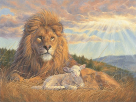 Lion and lamb - through, beams, sun, clouds