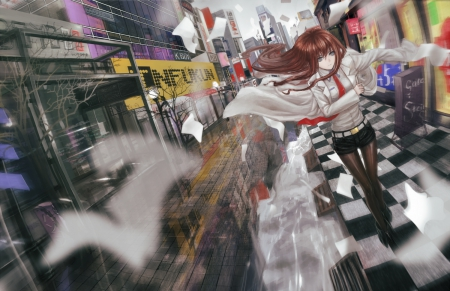 Steins Gate - pretty, house, scenic, hd, beautiful, Makise, angry, sweet, nice, city, Makise Kurisu, walkway, Kurisu, emotional, anime, beauty, anime girl, scenery, long hair, steins gate, street, female, lovely, brown hair, town, mad, building, girl, scene