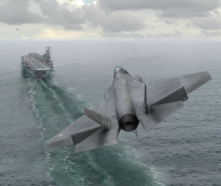 stealth fighter - cool, 21 sentury plane, military, on ship, landing, picture, free, do