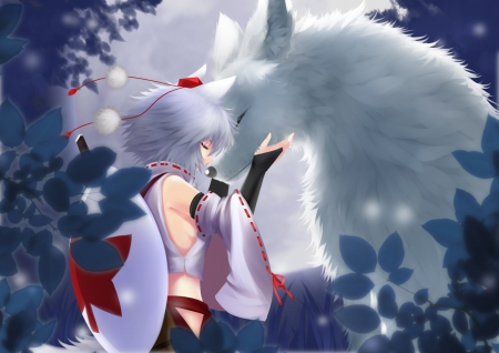 犬走椛と狼 - pretty, hd, friend, wolaf, white hair, silve rhair, beautiful, animal, sweet, nice, anime, friendship, love, touhou, beauty, anime girl, inubashiri momiji, lovely, short hair, cute