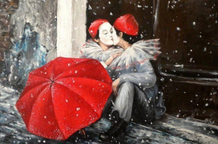 ♥ - clown, painting, kisses, red umbrella, beautiful, canvas, loving couple