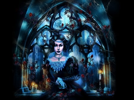 elizabeta - fantasy, dark art, dracual, gothic girl, haunted, gothic wallpaper, eeerie, candles