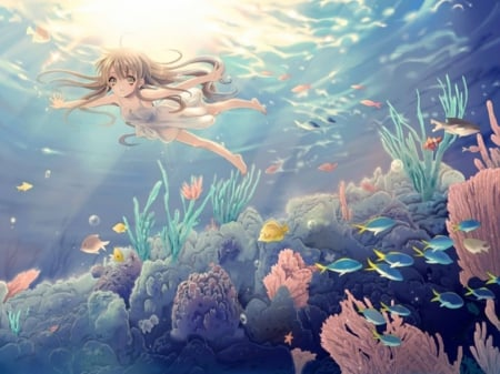 Coral Reef - pretty, scenic, reef, fish, beautiful, sea, sweet, nice, anime, coral reef, beauty, anime girl, scenery, swimming, underwater, female, lovely, ocean, coral, water, girl, swim, scene