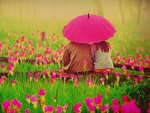 Picture of Romantic Couples Under Umbrella at Flowers Field