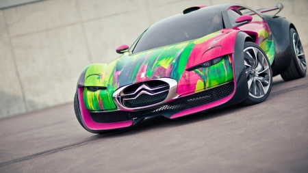 wild painted citroen - track, colors, paint, car