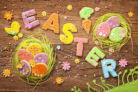 ♥Easter♥ - cookies, glaze, decoration, eggs, flowers, pastel, easter, wood