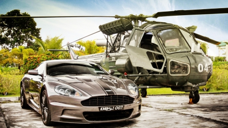 an aston martin dbs next to a helicopter hdr - hdr, tarmac, helicopter, car