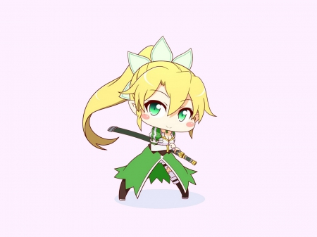 cute~ leafa chan~ - cute girl, cuteness, pretty girl, hair ribbon, blonde hair, sword art online, leafa, chibi, elf girl, sao, anime, verde eyes, moe, long hair, sword