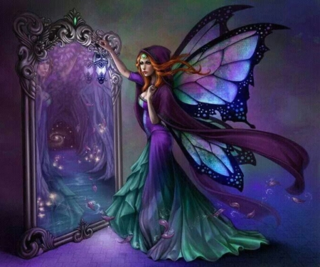 Mirror ! Mirror! - butterfly, mirror, beautiful, wing, fairy