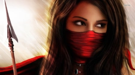 red - female, cool, girl, sexy, elegant, women, ninja