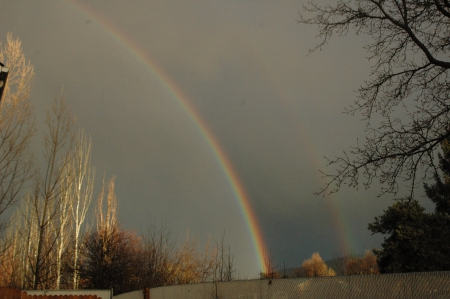 Double rainbow - rainbows, nature, clouds, Skies