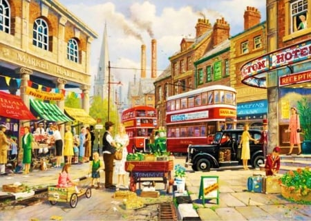 Market Hall - London, taxi, houses, artwork, England, bus