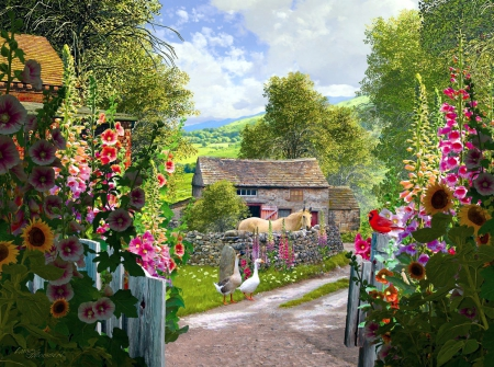 Yorkshire Farm - geese, house, flowers, path, horse, artwork, animals