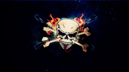 SKULL AND CROSSBONES - SKULL, CROSSBONES, FIRE, DARK