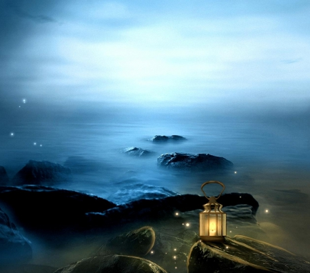 Good night to you my ....... - lantern, night, light, ocean