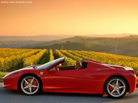 Red Sunset - red sunset, Red, Car, awesome, Nature wallpaper, sunset, awesome wallpaper, Ferrari