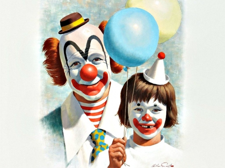 Clown with a happy child by Arthur Saron Sarnoff - red, art, smile, happy, hat, clown, balloons, child, Arthur Saron Sarnoff, funny, painted face, blue