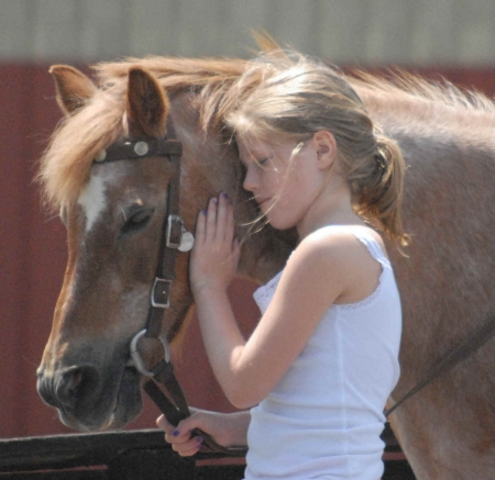 young cowgirl loves friend - cute, reins, horse, cowgirl