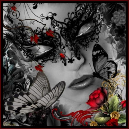 BLACK BUTTERFLY - BUTTERFLIES, FACE, FEMALE, BLACK, MASK, RED, ROSE