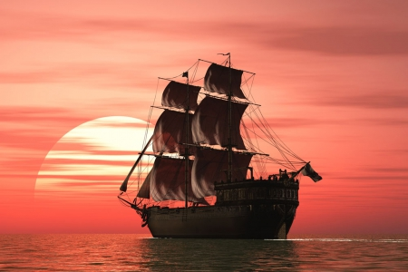Sailing on the sea at dusk - dusk, sailing, ship, sea