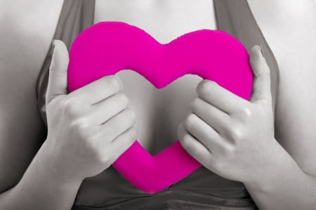 Loving... - hands, pink hot, heart, loving, two colors