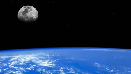 Earth and Moon - earth from space, earth, scenic earth, the moon, Earth and Moon