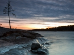 misty river at twilight