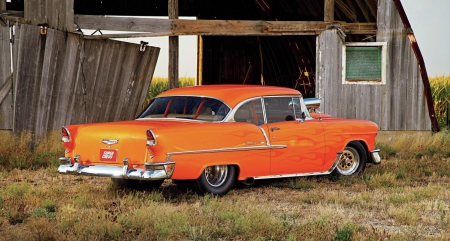 1955-Bel-Air - Classic, GM, Orange, Blown