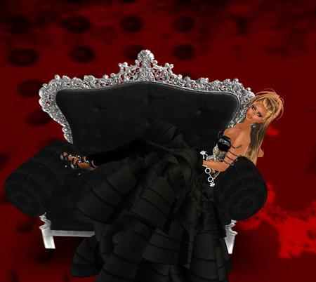 Lady in Black - lady, black, abstract, chair, fantasy