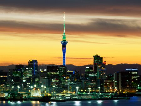 Aukland City - new zealand, city, night lights, harbour, buildings