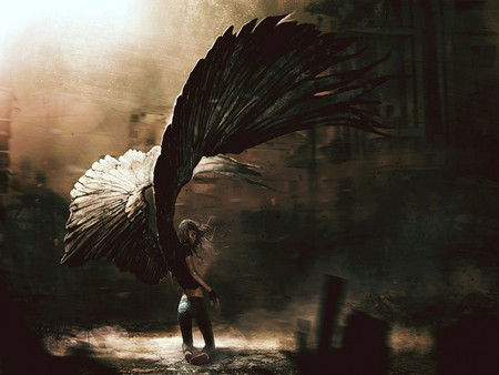 GOTHIC WINGED ANGEL - art, gothic, huge, fantasy, angel, fallen, wings, wing, abstract, sadness, sad
