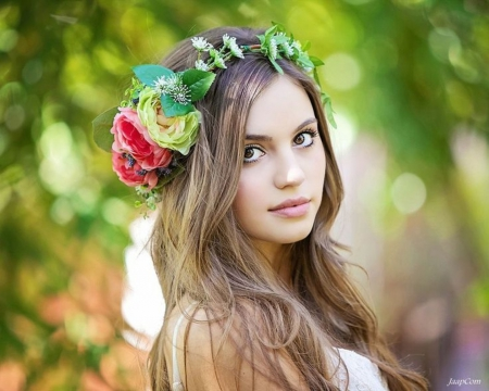 :) - spring time, beauty, flowers, girl