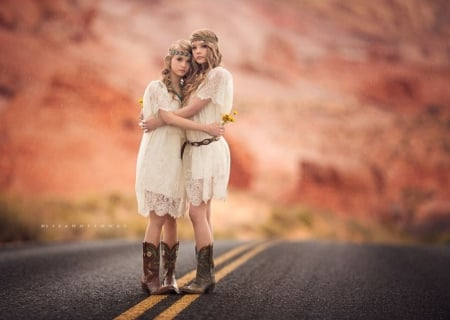 Sunshine Through the Rain - moments, feeling pure, together, two girls, rain, road, embrace, Sunshine