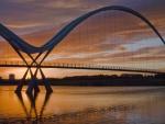 beautiful modern bridge at twilight