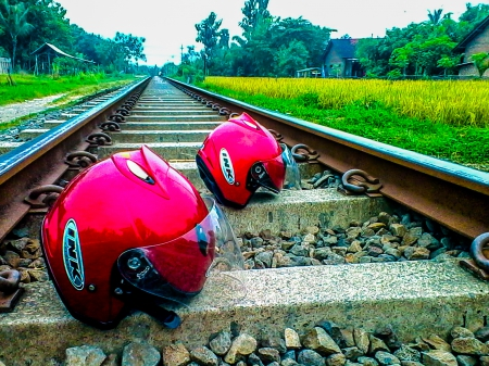 Helmets - motorcycles, red, helmets, other