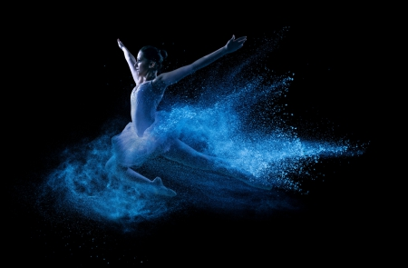 Think Big - blue wake, ballerine, blue dreams, blue and black, Think Big, beautiful, jump, two colors