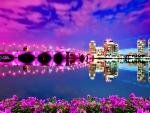 Pink bridge flower in seashore