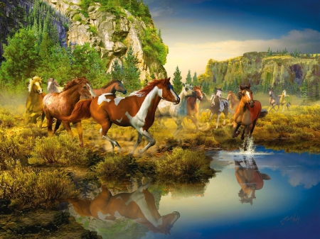 Running Wild Horses Other Abstract Background Wallpapers On